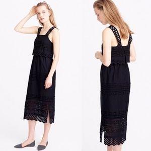J.Crew Black Tiered Eyelet Midi Dress